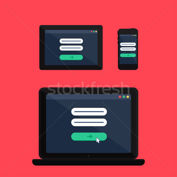 Web Template of Adaptive Online Login Form Stock photo © barsrsind