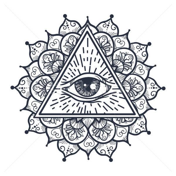眼 三角形 ヴィンテージ 曼陀羅 魔法 ストックフォト © barsrsind