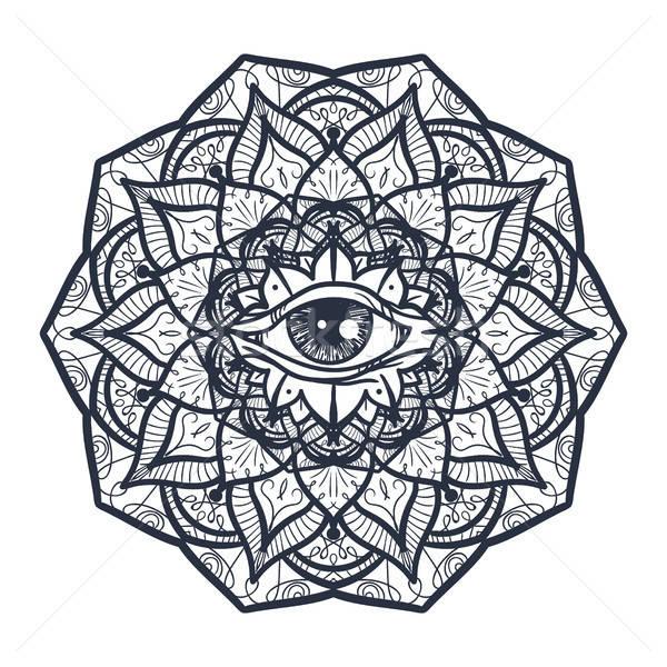 összes szem mandala klasszikus mágikus szimbólum Stock fotó © barsrsind