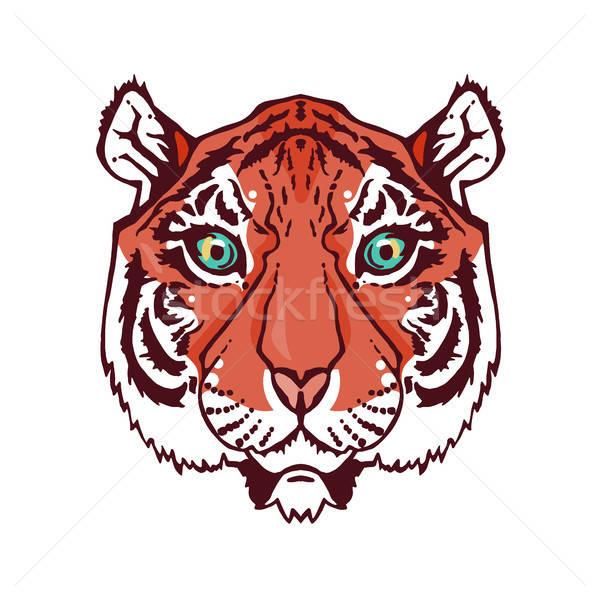 линия искусства тигр иллюстрация изолированный голову Сток-фото © barsrsind
