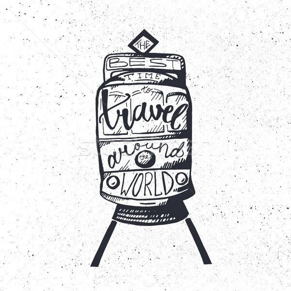 Travel inspirational lettering Stock photo © barsrsind