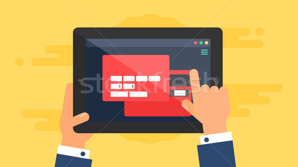 Web Template of Tablet Online Shopping Form Stock photo © barsrsind