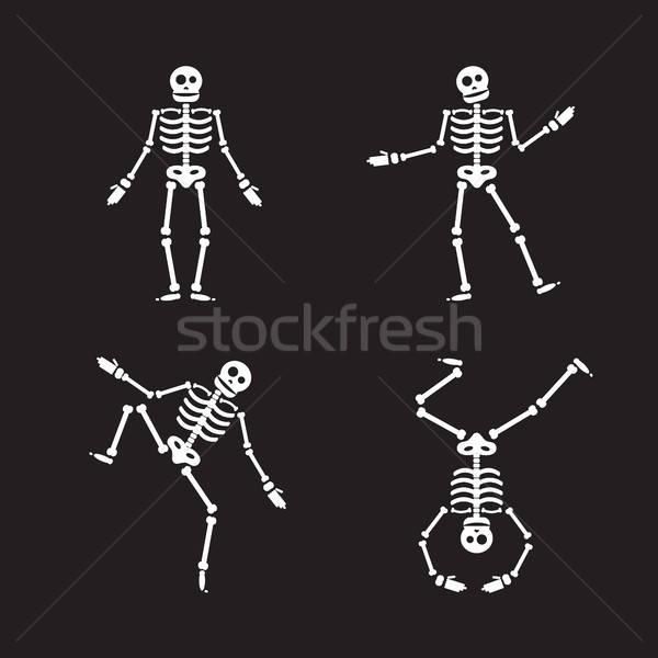 Stock fotó: Boldog · halloween · csontváz · illusztráció · zombi · csontok