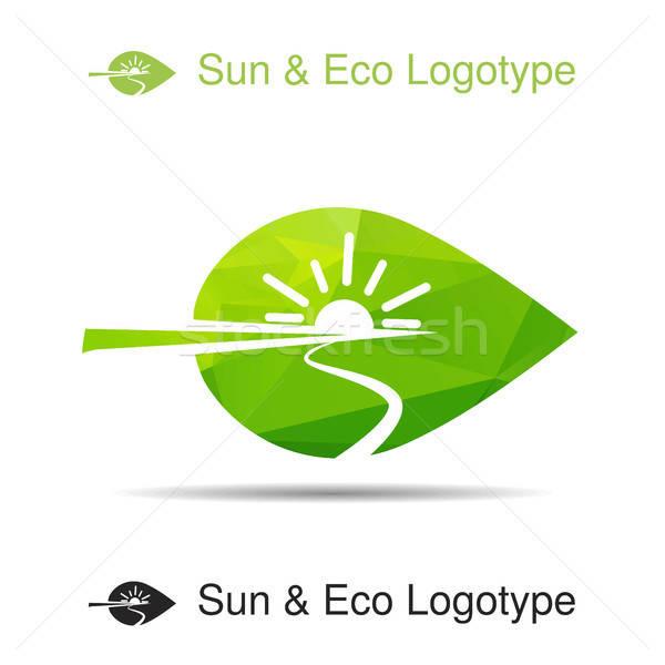 ökológia logotípus ikon természet szimbólum nap Stock fotó © barsrsind