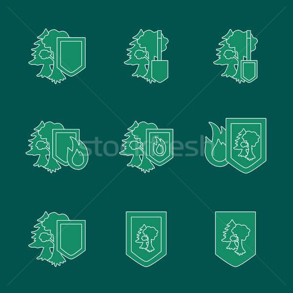 Környezet védelem ikon matricák szett ökológia Stock fotó © barsrsind