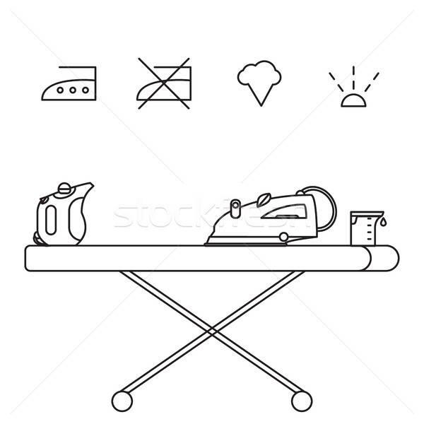 Izolált gőz vasaló ikon főzőpohár kéz Stock fotó © barsrsind