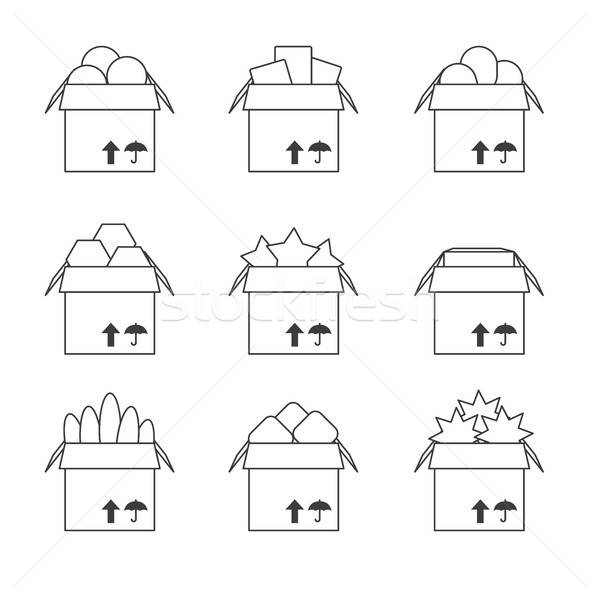 Set of templates with the full box, icons Stock photo © barsrsind