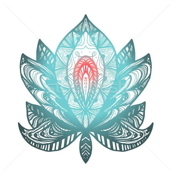 ストックフォト: 花 · 蓮 · 入れ墨 · 魔法 · シンボル · 印刷