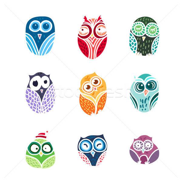 Owls hand drawn set Stock photo © barsrsind