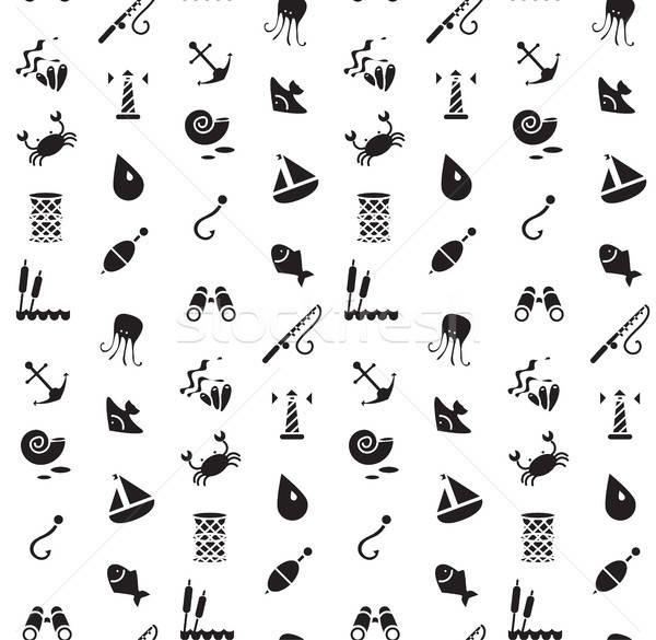 Isolated marine and fishing seamless pattern Stock photo © barsrsind