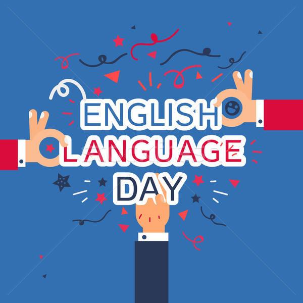 Englisch Sprache Tag Banner Hände Vektor Stock foto © barsrsind