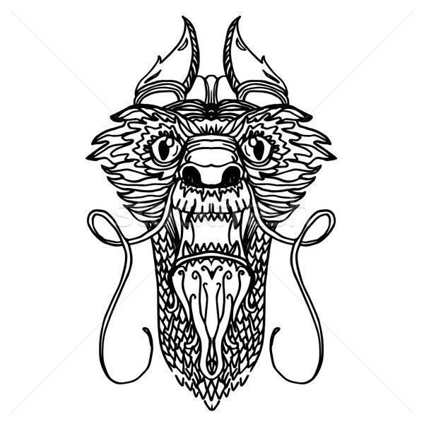 дракон голову татуировка Cartoon стиль вектора Сток-фото © barsrsind