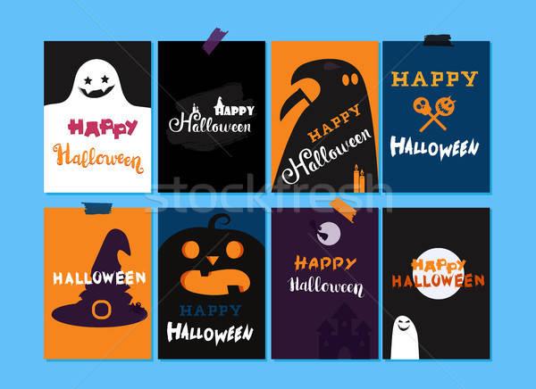 Szczęśliwy halloween szablony zestaw sztuczka Zdjęcia stock © barsrsind