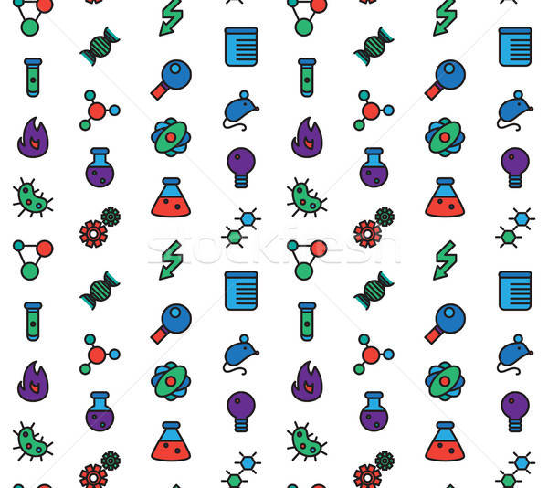 Science icons seamless pattern Stock photo © barsrsind