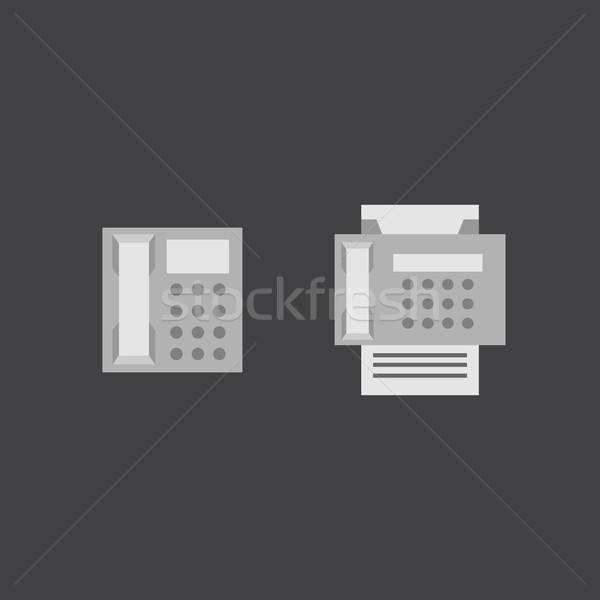 Téléphone fax icônes vecteur eps affaires Photo stock © barsrsind