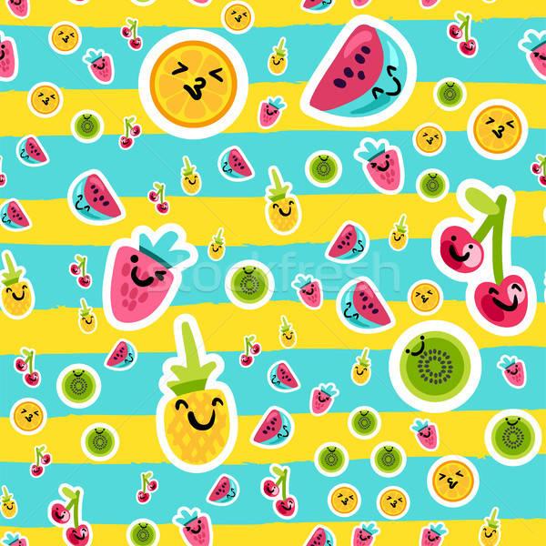 Zomer vruchten patronen vector cartoon stijl Stockfoto © barsrsind