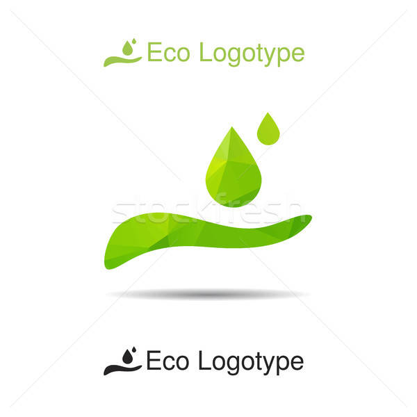 Ecology logotype from hand with drops Stock photo © barsrsind