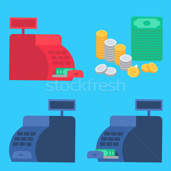 Cash register and money Stock photo © barsrsind