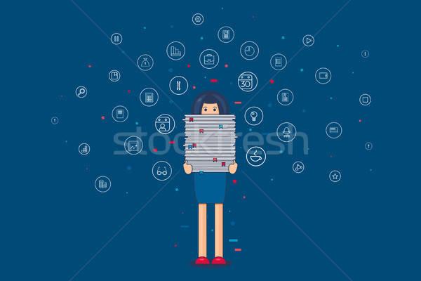 Munkás boglya papírok irodai dolgozó nagy papír Stock fotó © barsrsind