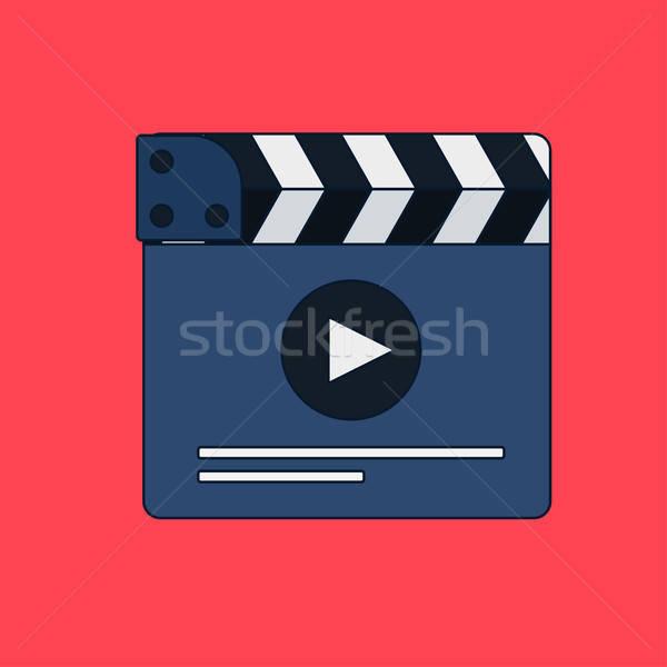 Flat movie clapperboard Stock photo © barsrsind