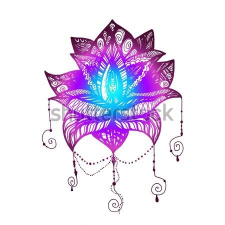 Flower Lotus Tattoo Vector Illustration Barsrsind