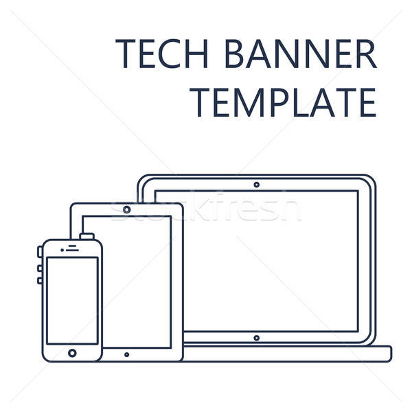 Web Template of Adaptive Site or Article Form Stock photo © barsrsind
