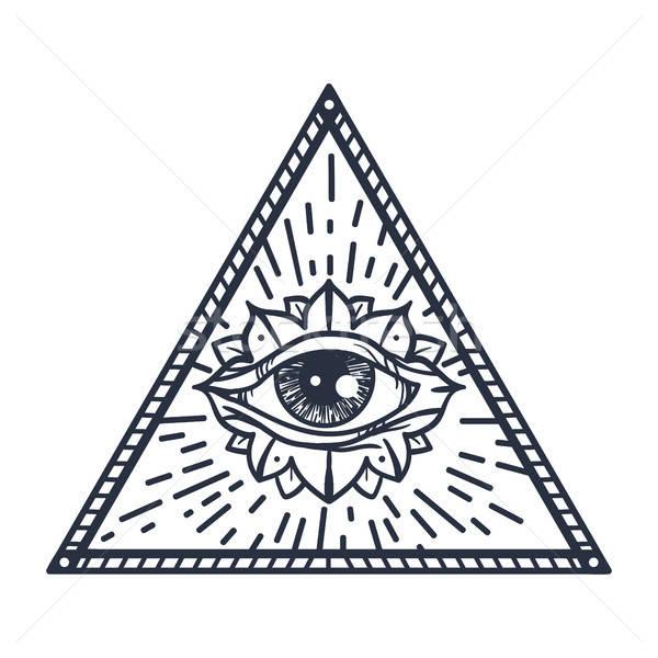 Foto stock: Olho · triângulo · vintage · magia · símbolo