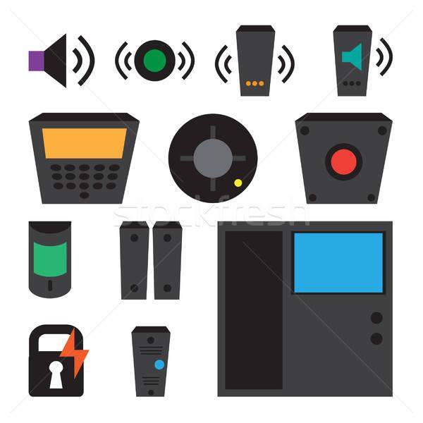 Vector simple set of detectors icons Stock photo © barsrsind