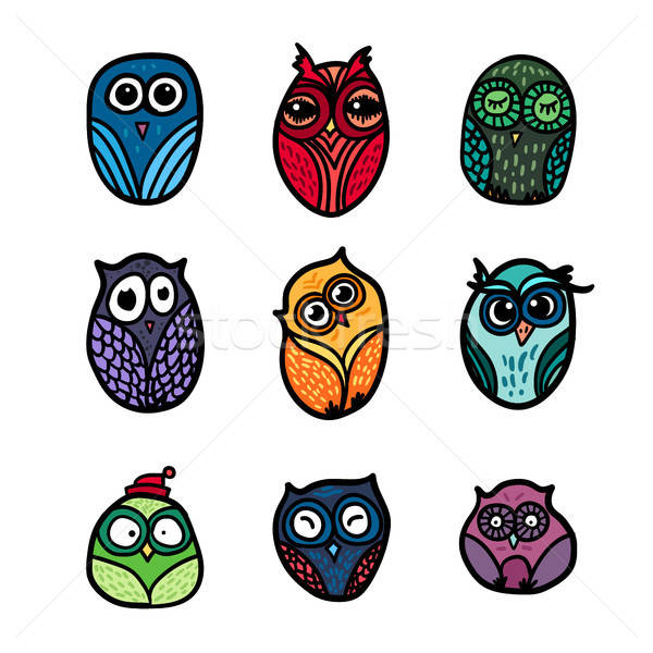 Owls hand drawn set Stock photo © barsrsind