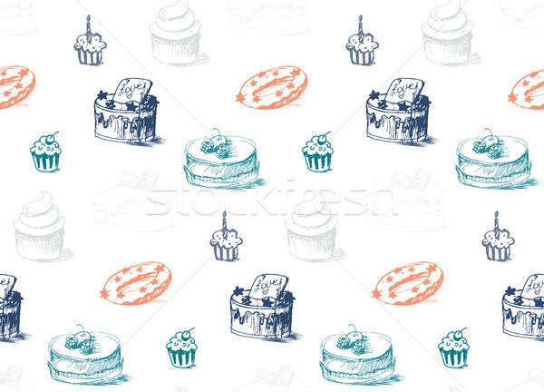 Smakelijk gebak room voedsel bakkerij Stockfoto © barsrsind