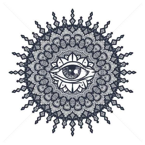 All Seeing Eye in Mandala Stock photo © barsrsind