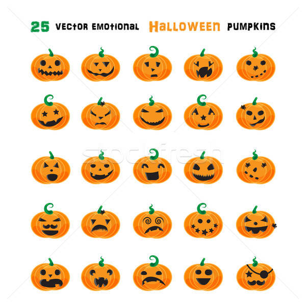 Halloween emotional pumpkins set Stock photo © barsrsind