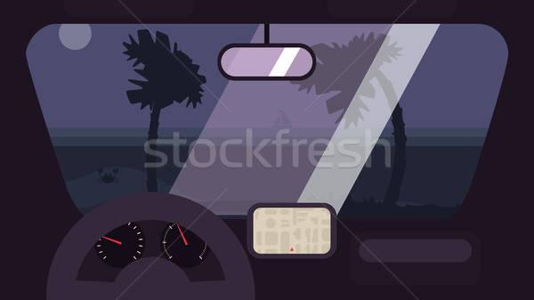 été Voyage voiture Bonjour Palm plage Photo stock © barsrsind