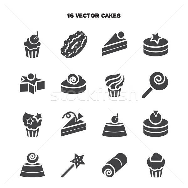 Collection of bakery and cake icons. Candy, sweet set Stock photo © barsrsind