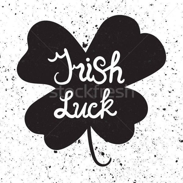 Irish Luck Lettring in clover Stock photo © barsrsind