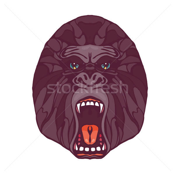 Growling gorilla tattoo Stock photo © barsrsind
