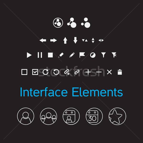 Vetor conjunto interface elementos ui Foto stock © barsrsind