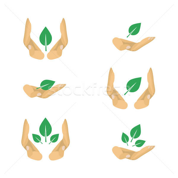 Vector variants of ecology protection symbols for poster Stock photo © barsrsind