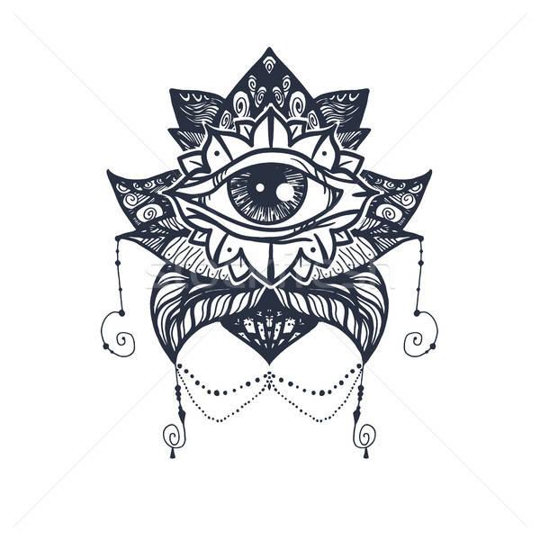 Stock photo: Eye on Lotus Tattoo