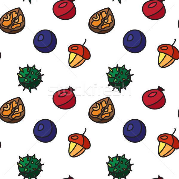 Vintage nuts, berry, fruits seamless pattern Stock photo © barsrsind