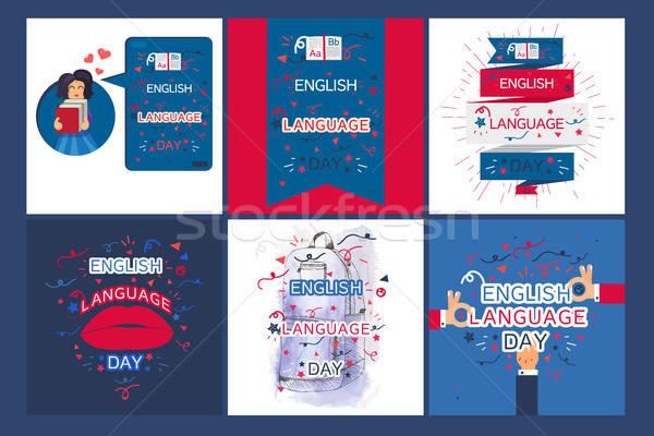 Stock foto: Englisch · Sprache · Tag · Banner · Buch · Briefe