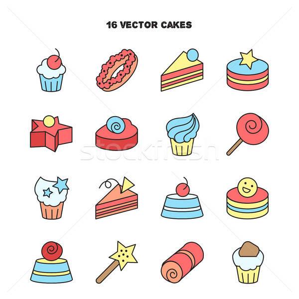 Toplama fırın kek simgeler şeker tatlı Stok fotoğraf © barsrsind