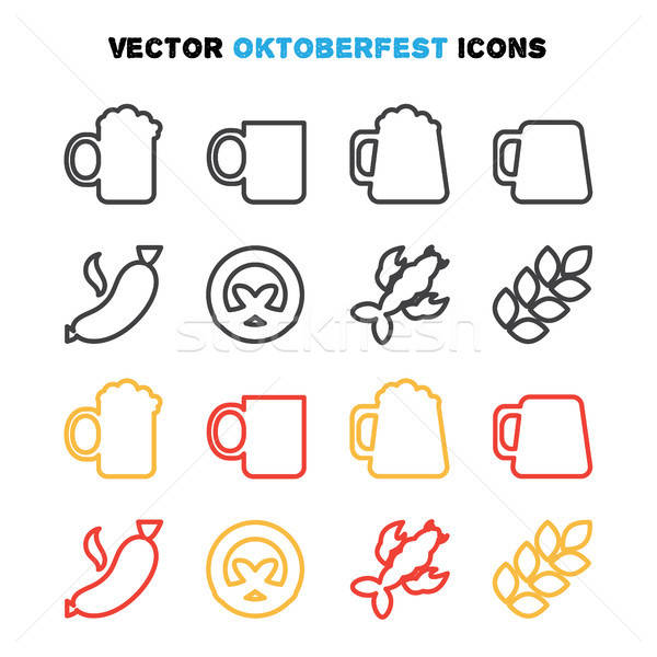 Oktoberfest linii bere festival vector Imagine de stoc © barsrsind