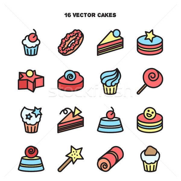 Stockfoto: Collectie · bakkerij · cake · iconen · snoep · zoete