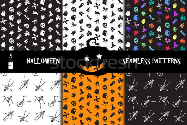 Halloween icons seamless patterns set Stock photo © barsrsind