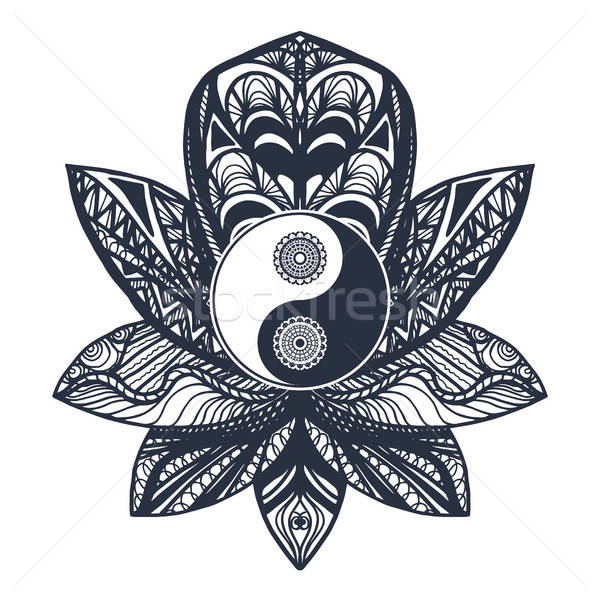 Vintage Yin and Yang in Lotus Stock photo © barsrsind