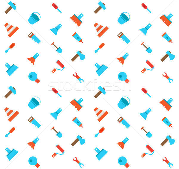 Constructing and building icons seamless pattern Stock photo © barsrsind