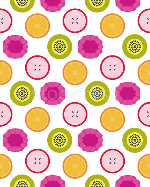 Vektor gyümölcsök végtelen minta gyümölcs alma bogyó Stock fotó © barsrsind
