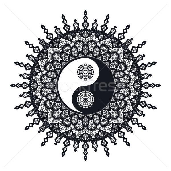 Klasszikus yin yang mandala szimbólum nyomtatott tetoválás Stock fotó © barsrsind