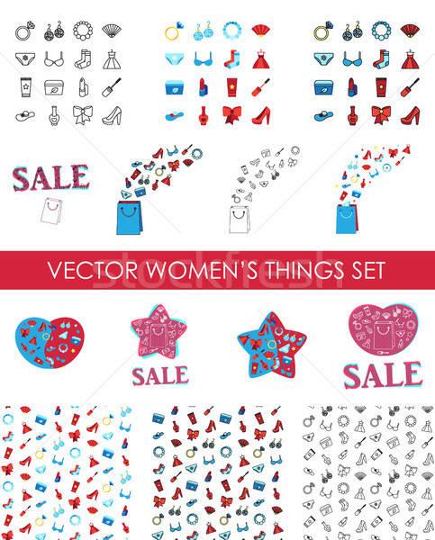 Mujer cosméticos ropa iconos Foto stock © barsrsind